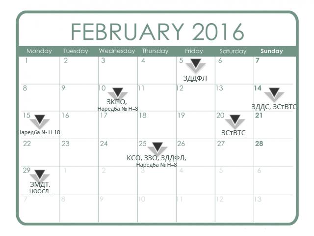 Данъчно-осигурителен календар - февруари 2016 г.