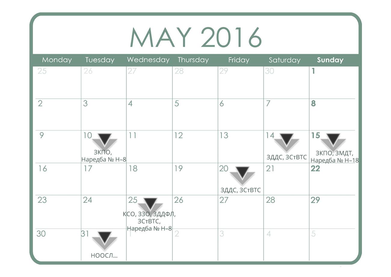 Данъчно-осигурителен календар - май 2016 г.