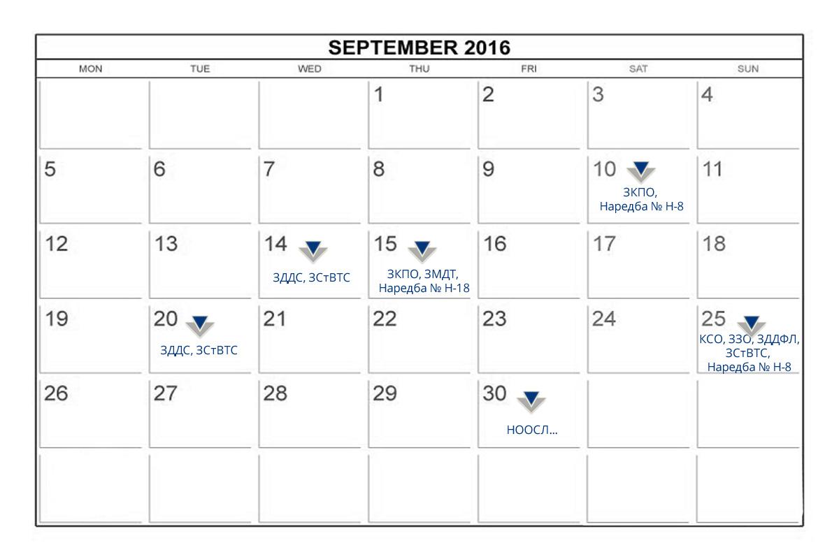 Данъчно-осигурителен календар - септември 2016 г.