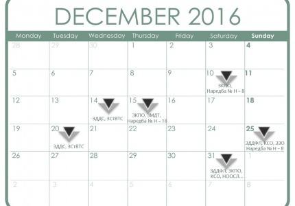 Данъчно-осигурителен календар - декември 2016 г.