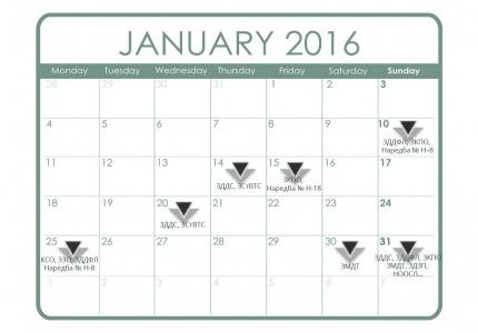 Данъчно-осигурителен календар - януари 2016 г.