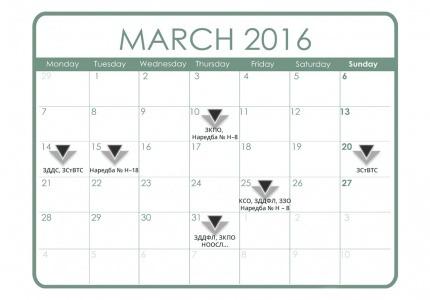 Данъчно-осигурителен календар - март 2016 г.
