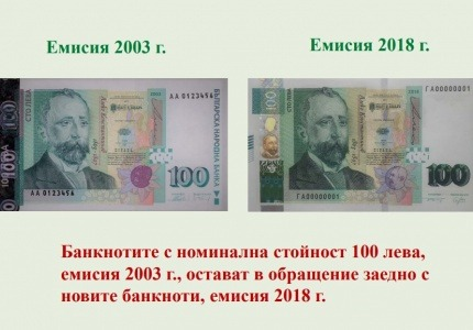 Нова серия банкноти от 100 лв. в обращение от 28 декември 2018 г.